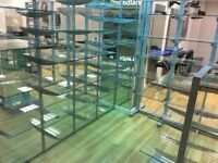 Glass Retail Shelving system.