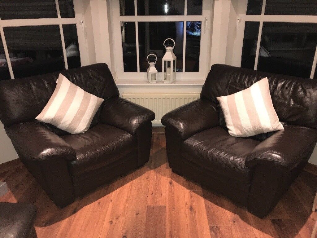 £250 DFS Brown Leather 2 Seater Sofa with 2 chairs and storage footstool Excellent Condition