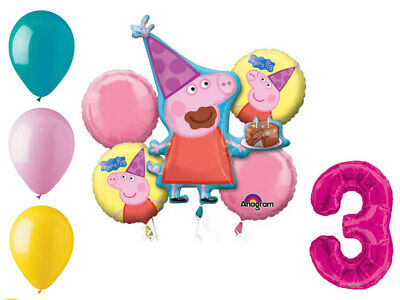 Peppa Pig Balloon Bouquet 3rd Birthday Party Supplies Decorations Balloons Favor - Peppa Pig Birthday Balloons
