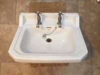Vintage salvage Waverley sink basin with taps