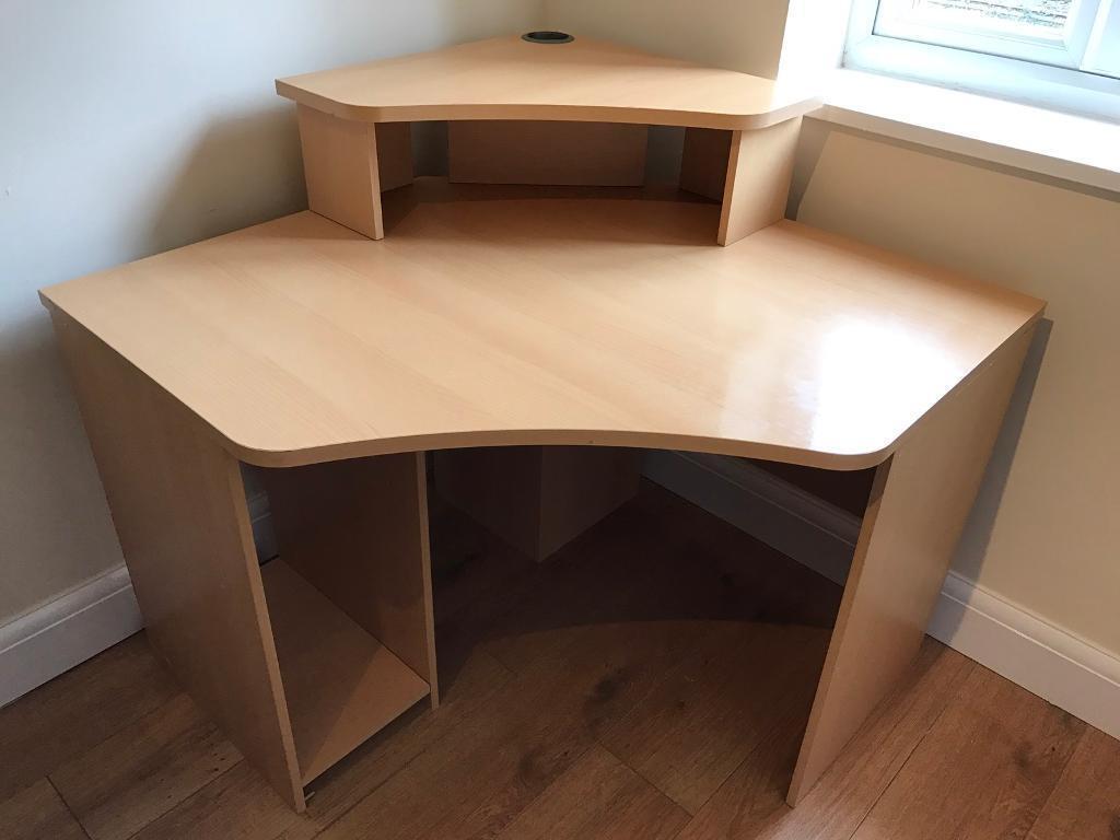 Tremendous Large Office Desk: Large Office, Study Corner Light Oak Computer Desk, Very