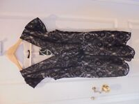 Oasis ladies lined black lace wrap playsuit size 10, brand new