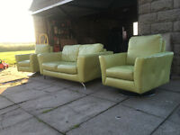 xDFS 2+1+1 swivel chairs lime green leather suite DELIVERY AVAILABLE