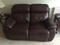 Leather double sofa electric recliner chocolate brown