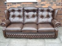 Brown Leather Chesterfield Three Seater Sofa
