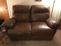 Brown Leather Reclining Sofa with Matching Electric Reclining Chair