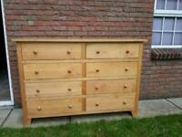 Solid oak chest of drawers with matching mirror