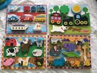 Melissa and Doug bundle 4 wooden chunky puzzles