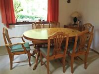 Substantial Oval end Oak Dining Table (and 6 matching oak upholstered chairs), East Kilbride