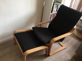 Ikea Black chair and grey 2 seater fabric Sofa