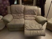 2x2 seater leather sofas 1x footstool