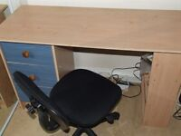Gas Lift Office Chair - Black + Desk with 3 Blue Drawers + Book Shelf or Storage Shelf