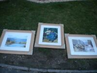 3 BEAUTIFUL PINE FRAMED PRINTS EACH 25X21 INCHES