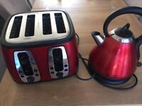 Red Russell Hobbs 4 slice toaster and kettle
