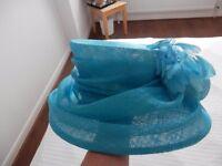Ladies Wedding Hat/ Mother of Bride/ Ascot - New Escott Hat, Turquoise One Size