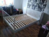 Double bed frame + slats Ikea Leirvik white