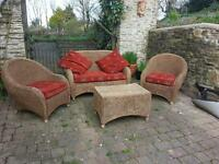 Attractive conservatory furniture - sofa, two chairs & table. Reduced for quick sale £20 off