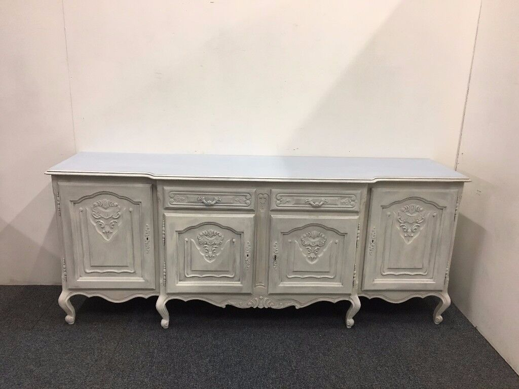 White Painted Shabby Chic Sideboard With Queen Anne Legs And Locking Doors