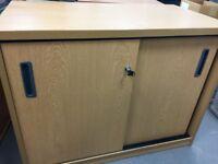 Large, lockable sliding door storage cabinet