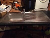 Kitchen sink - metal, with worktop, and fixings with Pyramis tap