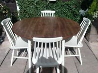 Round table & 4 Chairs... Shabby Chic
