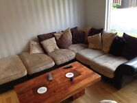 Large DFS sofa/couch with foot stool