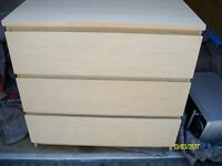 Ikea Malm Birch Chest of Drwers