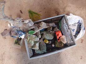 Box of Aquarium accessories and ornaments