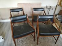 Solid rosewood and genuine leather antique chairs - set of 4