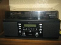 Teca CD burner with built in radio and speakers with turn table