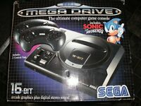 Sega Megadrive boxed with 2 games outrun and sonic the hedgehog