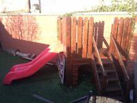 Slide for your Garden, safe fun for kids, wooden frame, plastic slide
