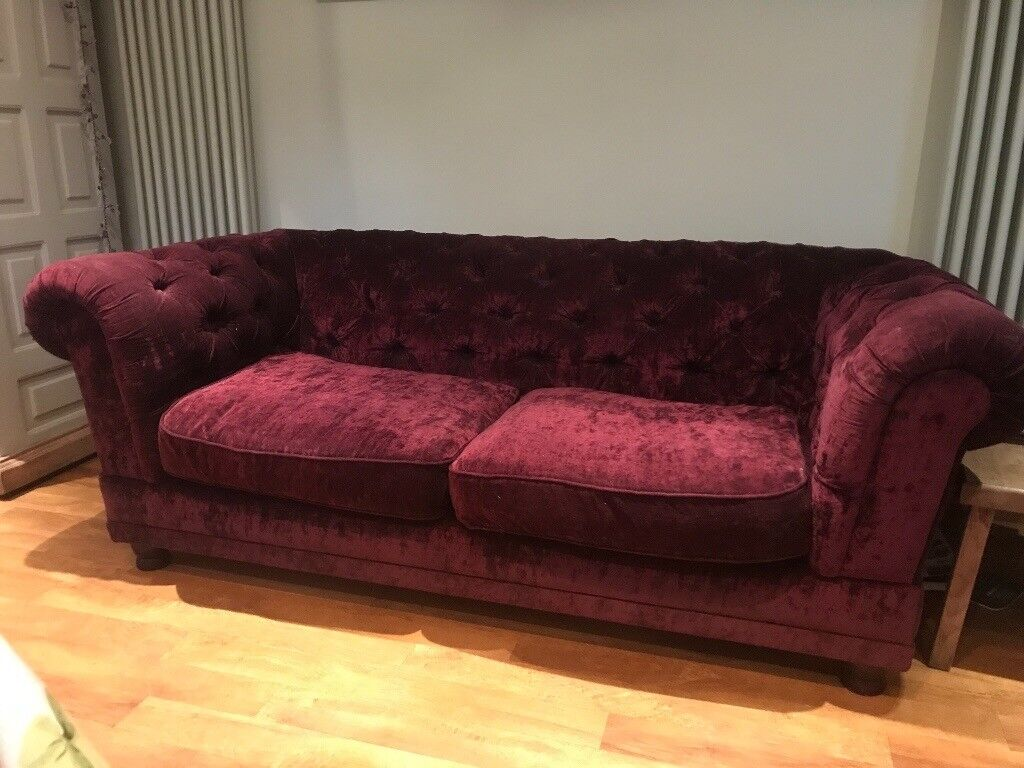 Crushed Velvet Burgundy Chesterfield Sofa In Kings Heath