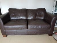 2 x Brown leather 2/3 seater sofas £200