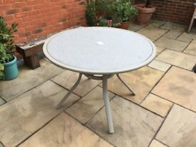 Garden table, can seat 4,bellagio brand, pale with multi coloured insert, Used