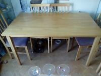 DINNINIG TABLE AND SIX CHAIRS JUST IN TIME FOR XMAS DINNER