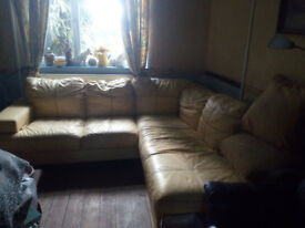 5 seater yellow leather corner suite+armchair and large poufe