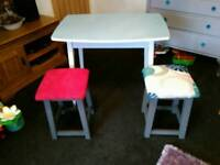 Vintage Retro Kitchen Formica Table and Two Stools