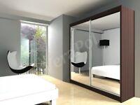 NEW MODERN wardrobe with mirror / drawers sliding doors hanging rail shelfs 120 150 180 203 250 cm