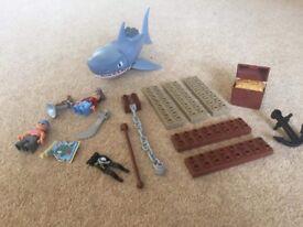 Rare Lego Duplo shark, pirates, raft and Diego with island
