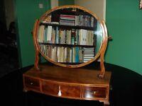 Georgian mahogany oval dressing table mirror