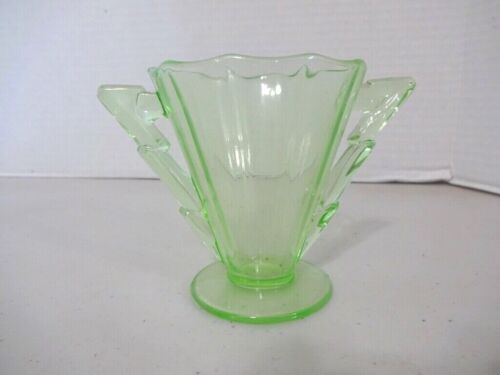 Cambridge Decagon Pattern Green Sugar Bowl-EX!