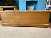 Victorian pine blanket box chest