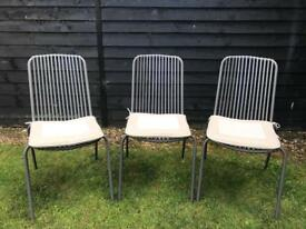 3 outdoor garden chairs with seat-pads.