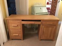 Large Computer desk (solid oak, no veneers) H76 W150 D51cm 2 filing drawers, 1 drawer 1 cupboard