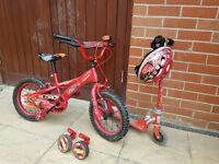 Cars McQueeen Bike+Stabilisers+Hemlet&Scooter