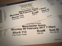 *£125* GREEN DAY TICKETS LOWER TIER MANCHESTER 6TH FEBRUARY