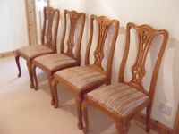Four yew wood chairs