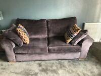 Purple velvet 3 seater couch from a smoke, pet and child free home