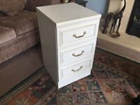 White Three Drawer Bedside Cabinet H26.5in/67cm W15.5in/39cm D 16.5in/42cm
